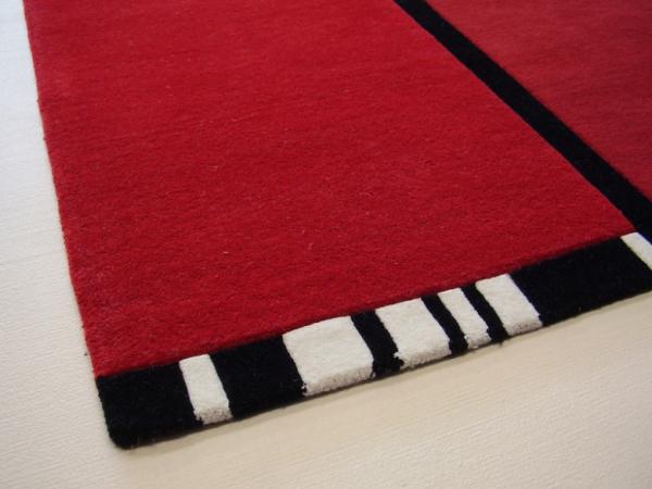 Teboshop  Designer Handtuft Teppich zweifarbig rot